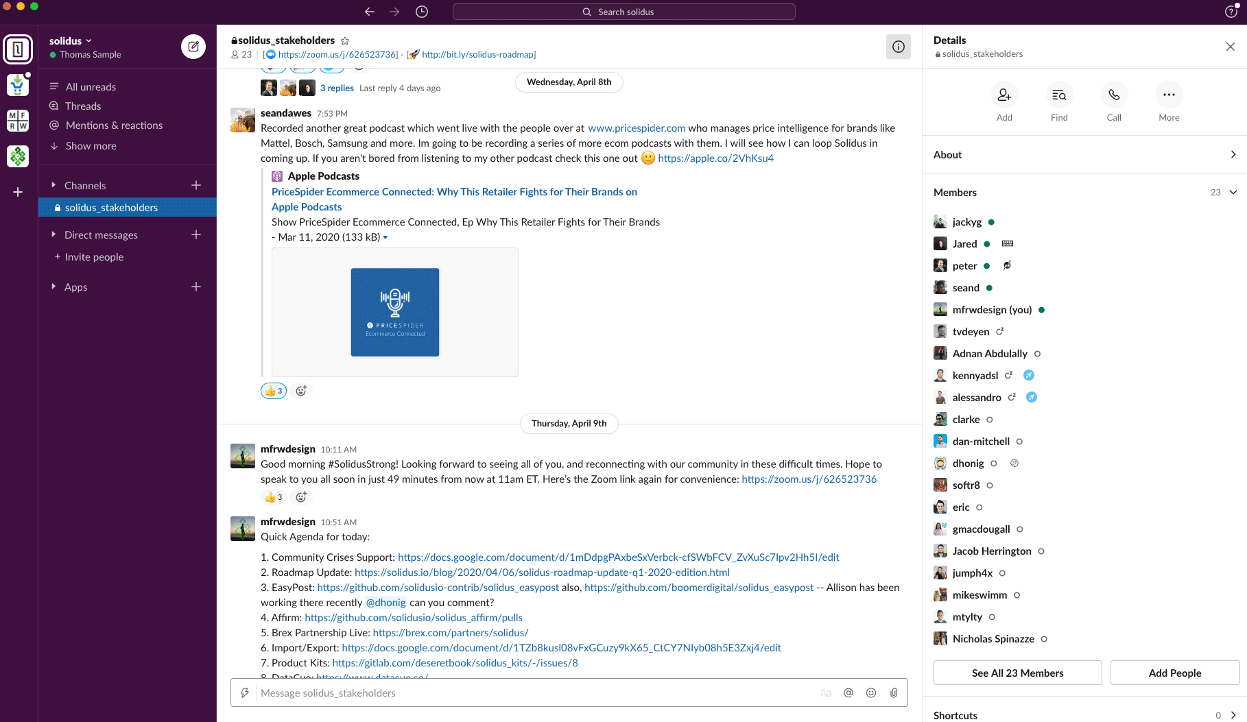 Solidus Stakeholders Slack Chat Example