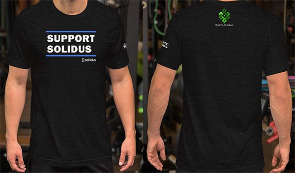 Mock Up of the Support Solidus T-Shirt that was printed for Solidus Conf 2019